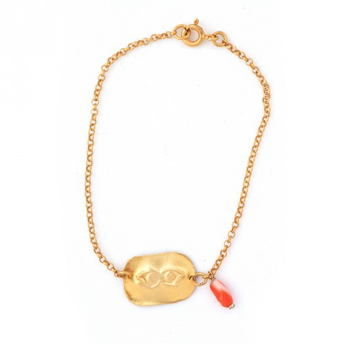"""Eye"" - 24-carat Gold Plated Silver Bracelet with Coral"