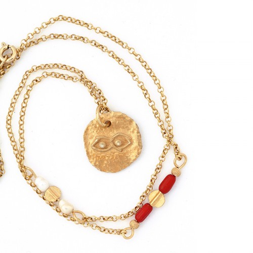 """""""Eye"""" - 24-carat Gold Plated Silver Necklace with Pearl and Coral"""