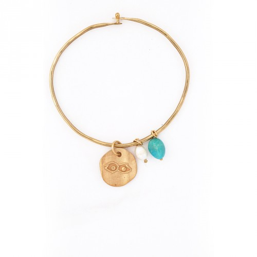 """Eye"" - 24-carat Gold Plated Silver Bracelet with Pearl and Turquoise"