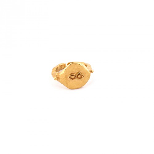 """Eye"" 24 Carat Gold Plated Silver Ring"