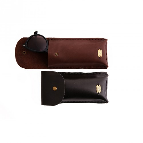 """Eye"" Hand-stitched Leather Pencil Case & Glass Case with Brass Eye Sheet - Black"