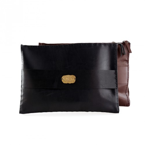"""Eye"" Hand-stitched Leather MacBook Case with Brass Eye Sheet - Black"