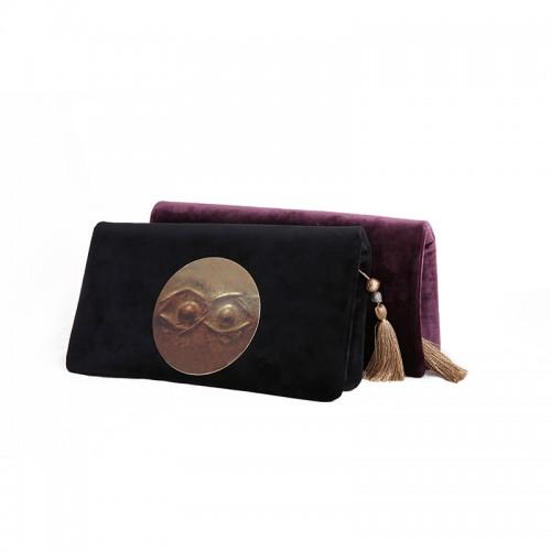 """""""Eye"""" Velvet Clutch Bag with Brass Medallion - Black"""