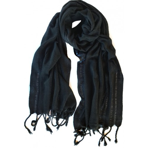 Raw Silk Male Scarf - Black