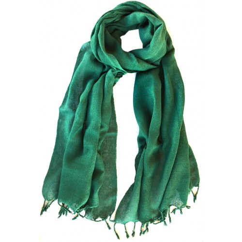 Raw Silk Male Scarf - Green