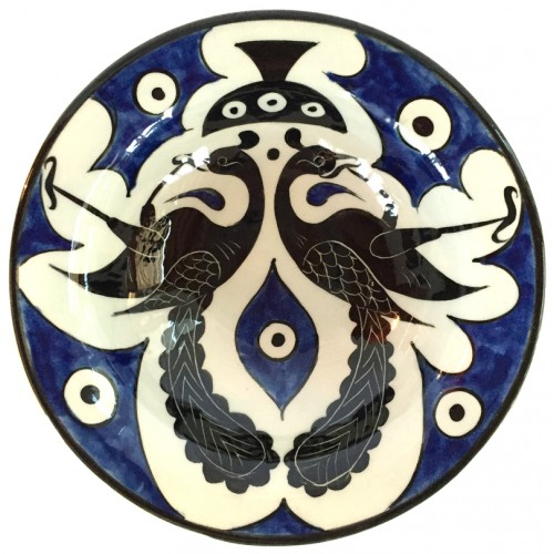 Seljuk Bird Patterned Cobalt Colour Nicea Porcelain Plate