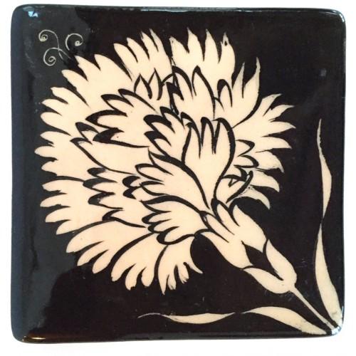 Carnation Patterned Nicea Square Porcelain Coaster