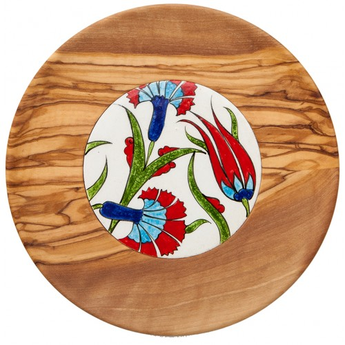 Olive Wood Plates with Tiles 1