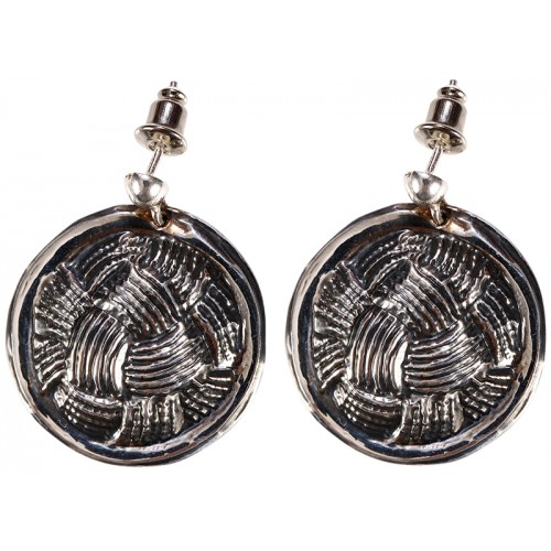 Silver Earrings Set with Lattice Pattern