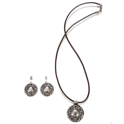 Silver Necklace and Earrings Set