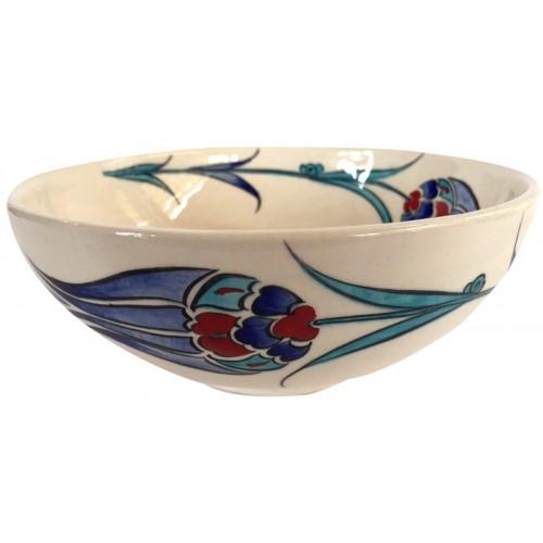 Ceramic Bowl with Blue Tulip