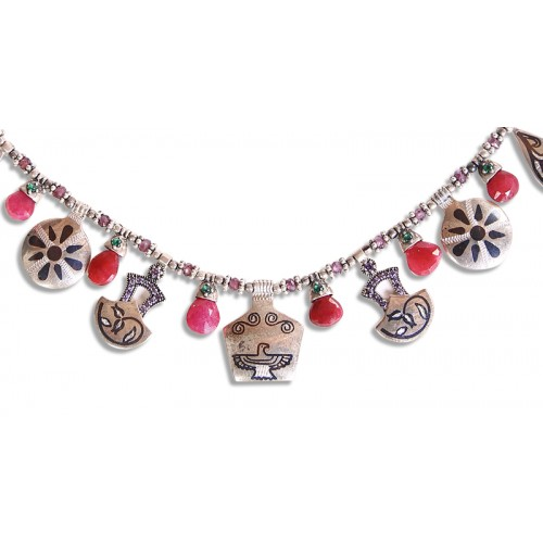 Silver Necklace with Ruby