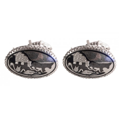 Silver Cufflinks with Cat pattern