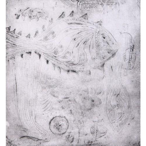 Bedri Rahmi Eyüboğlu Fish Engraving