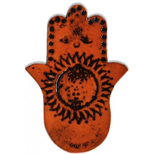 Fatima's Hand (Hamsa) Ceramic Tablet - Orange 2