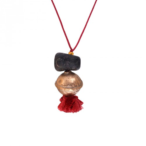 400.000 Years of Istanbul - Gemstone, Bronze Corded Tasseled Red Necklace