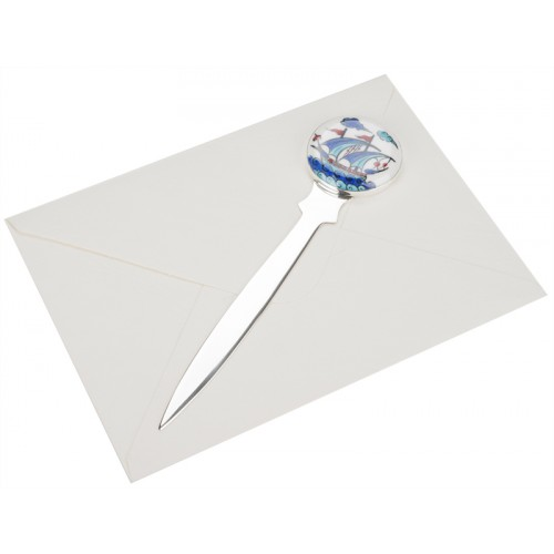Silver Letter Opener with Galleon Pattern