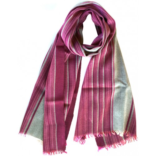 Kutnu Scarf - Pink Grey Striped