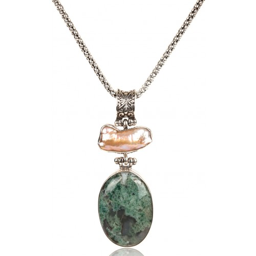 Moss Agate and Baroque Pearl Necklace