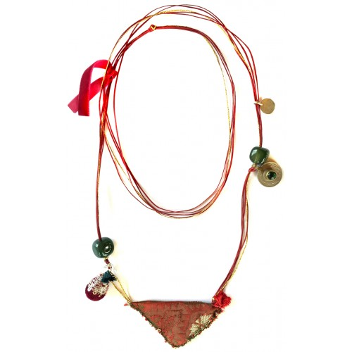 Muska Long Necklace - Red Ribbon