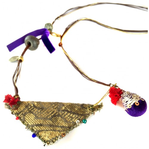 Muska Long Necklace - Purple Ribbon