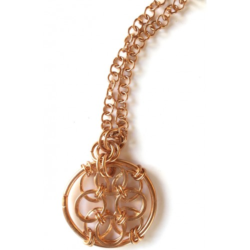 Armor Chain Copper Necklace with Round Pendant