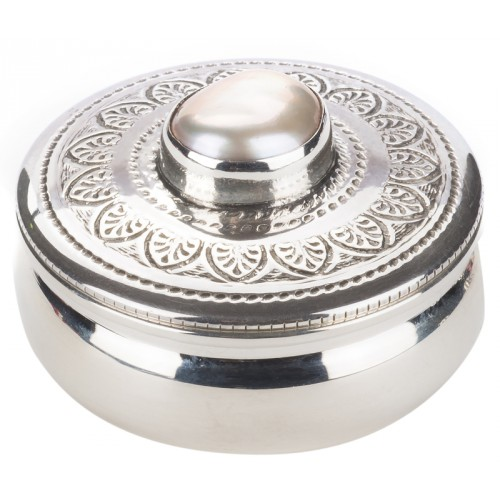 Silver Pillbox with Baroque Pearl