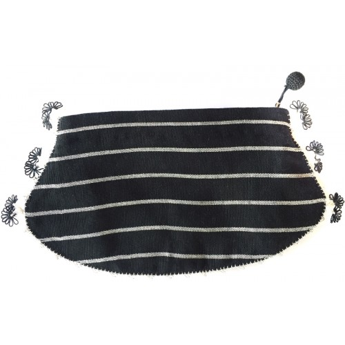 Kutnu Wallet - Black Stripes Needle Work