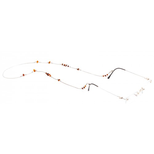 Silver Eyewear Chain with Amber