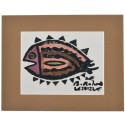 """Flounder"" Passepartout Block Printing - Brown"