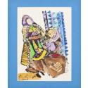 """Rug Wovers"" Passepartout Block Printing - Dark blue"
