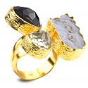 Gold Plated Silver Ring with Quartz and Chalcedony