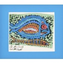 """Coral Barracuda"" Passepartout Block Printing - Blue"