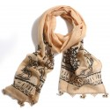 Hittite Themed Block Printed Scarf - Cream