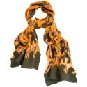 Orange Silk Based Green Felt Scarf
