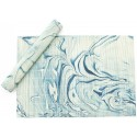 Table Mat Set - Blue Marbling Art