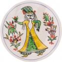 Kütahya Pretty Girls Ceramic Plate - Small Yellow