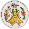 Kütahya Pretty Girls Ceramic Plate - Large Yellow