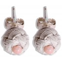 Kazaziye Silver Stud Earrings - Pink