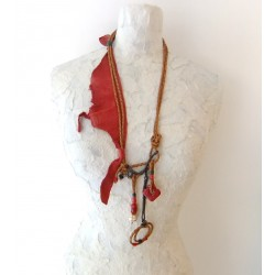 Red Vintage Necklace with Leather Strap
