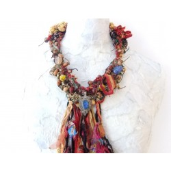 Vintage Necklace with Silk, Velvet and Glass/Wood Beads