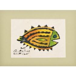 """Flounder"" Passepartout Block Printing - Green"