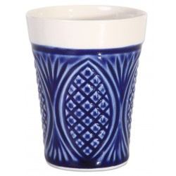 Dark Blue Porcelain Mug - Pineapple