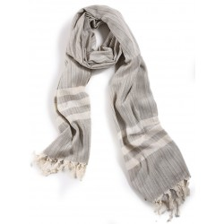 Grey Silk and Linen Scarf