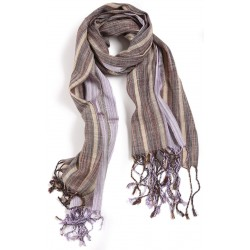 Silk and Linen Scarf - Brown and Light Purple Striped