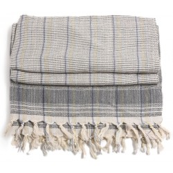 Turkish Hamam Towel / Pestemal with Grey stripes