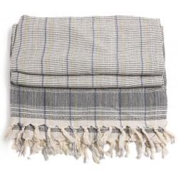 Turkish Hamam Towel / Pestemal with Grey stripes