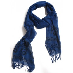 Block Printed Scarf - Dark Blue