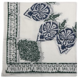 Tulip and Clove Patterned Block Printed Square Scarf