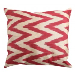 Silk Ikat Pillow Cover - Dark Pink
